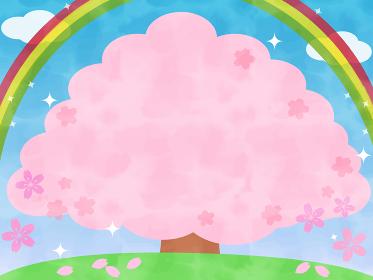 ポップで可愛いキラキラ桜の木のフレームと虹の背景