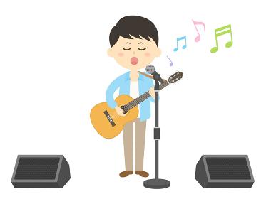 男性ミュージシャンのコンサートのイラスト
