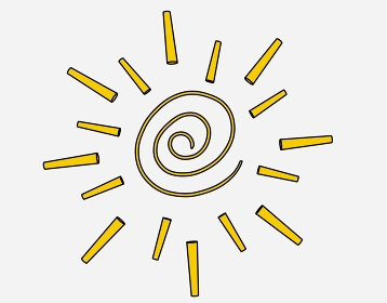 突き刺さるよに暑い黄色のぐるぐる太陽「黒淵あり」