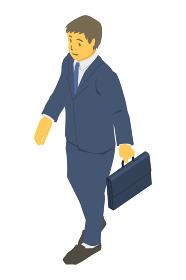 アイソメトリック図法。カバンを持って歩くビジネスパーソン