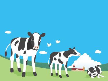 牧場と子牛の風景イラスト