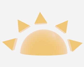 半分の黄色の太陽「3D」
