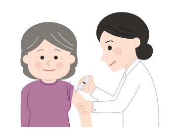ワクチン接種をする老人 イラスト