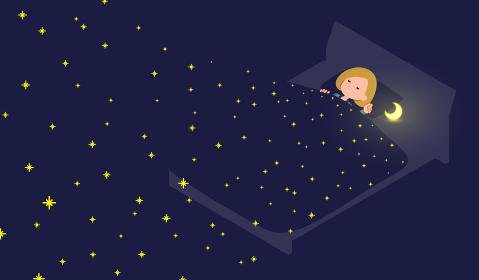 星空の中で寝ているパーカーを着た女性のセット