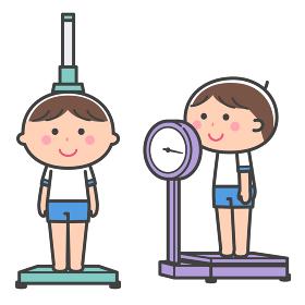 身体計測/身長計と体重計の上に乗る男の子 セット/線あり