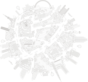 にぎやかな街並みの地球 線画