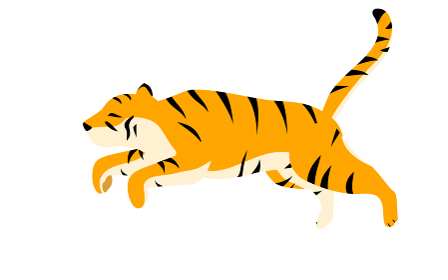 シンプルな虎のポーズイラスト、走って宙を飛