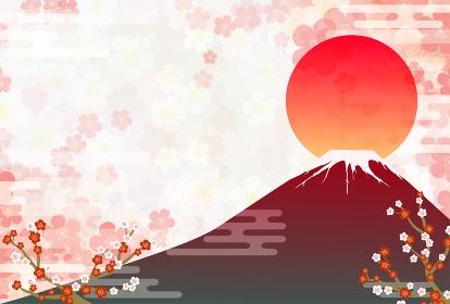 年賀状、梅の和風背景と赤富士と鶴、初日の出