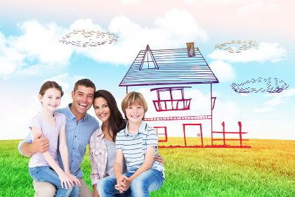 Composite image of happy children sitting on parents laps