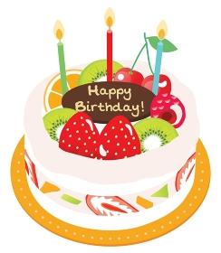 フルーツがたくさんのった生クリームのお誕生日ケーキ