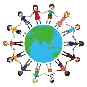 地球とその周りで手を繋ぐ色んな人種の子供たちのSDGsイメージのイラスト