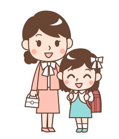 入学式の娘と母親