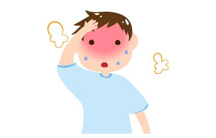 熱中症をおこしそうな男の子のイラスト
