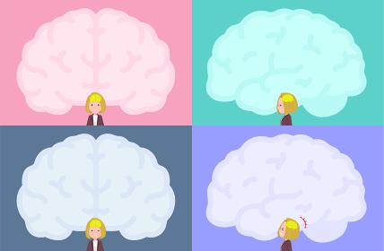 脳の形のフレームと金髪ビジネス女性のセット