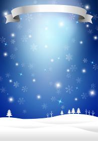 雪景色とリボン 光 クリスマス背景