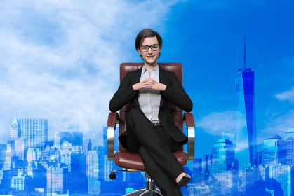 高層ビルが建つ大都市の大企業の女社長が椅子に座っている