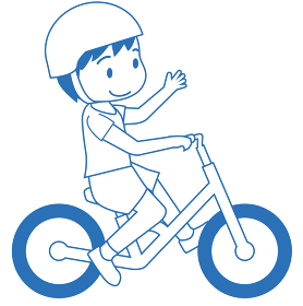 幼児用キックバイク ヘルメット人物男児男の子バランスバイクの線画イラスト自転車運動のイメージ