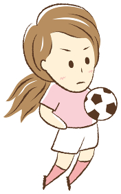 サッカーをする女の子 胸トラップ