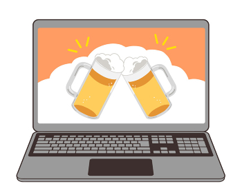 オンライン飲み会 ノートPC ビール ジョッキ