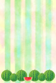 スイカとメロン色の背景 ポストカード 水彩風