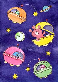 マカロンUFOに乗っている宇宙人の水彩イラスト