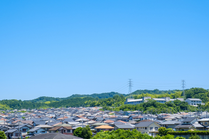 青空と住宅地 住宅街 コピースペース