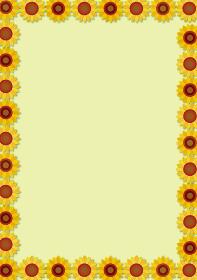 夏のイメージの手描きタッチのヒマワリ向日葵の背景イラスト暑中見舞い|フレーム暑中お見舞い