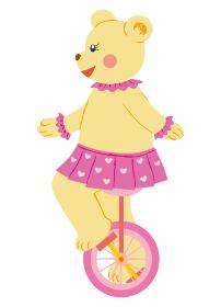 一輪車に乗るサーカスの熊