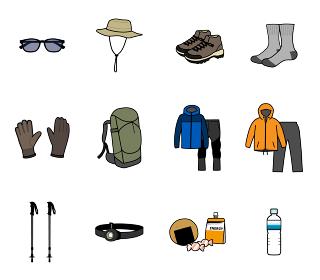 登山に必要な持ち物のイラストセット