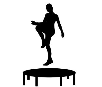スポーツ、トランポリンのシルエット
