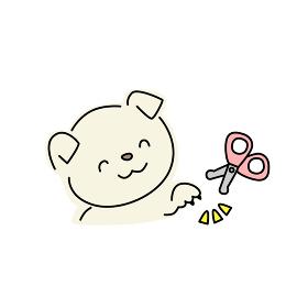 犬の爪切りのイラスト(黄色)
