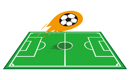 サッカーフィールドと飛ぶサッカーボール1