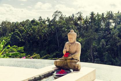 infinity edge pool with buddha statue