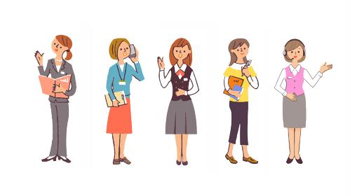 さまざまな職業の5人 女性