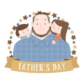 父の日向けの若いお父さんと子供たちのイラスト