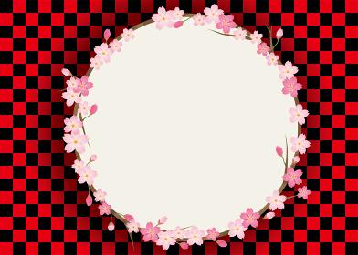 市松模様 和柄と春のイメージの背景バックグラウンド桜のフレーム 桜のイラスト