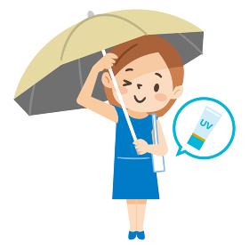 日傘をさしてUVケアをした若い女性