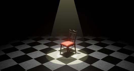 暗闇の中でスポットライトに照らされた椅子 3DCGインテリア