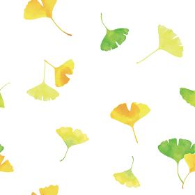 おどるイチョウの葉。水彩イラスト シームレス、連続模様(白背景)