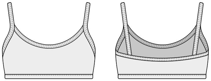 ブラトップ・スポーツブラ 女性用ウェア / テンプレートイラスト (フロント・バック)