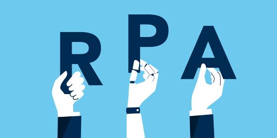 RPA、ロボティック・プロセス・オートメーションの文字を持つ手、ベクターイラストレーション