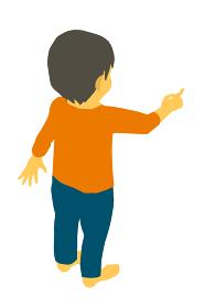 アイソメトリック 指差しする後ろ向きのかわいい幼児のベクターイラスト
