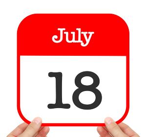 July 18 written on a calendar