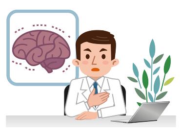 脳の説明をする医師 病気