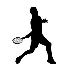 楽しいテニスのシルエット