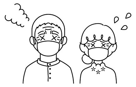 マスクをして暑がっている高齢者【おじいさん,おばあさん】