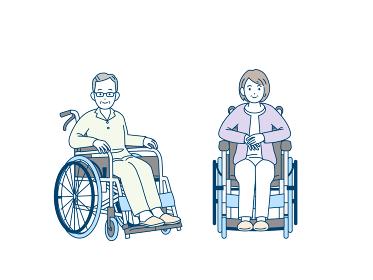 車いす 車椅子に座る 年配の男女 患者 シニア 高齢者 イラスト素材