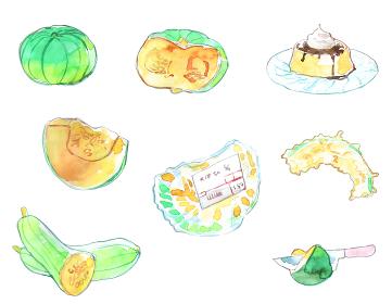 いろんなかぼちゃの水彩イラスト