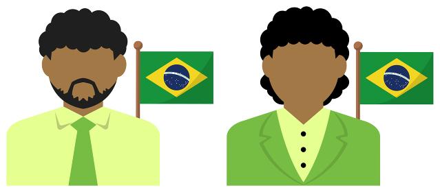 男性・女性ビジネスマン+国旗 イラスト (上半身・顔なしシルエット)/ ブラジル