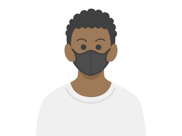黒マスクをした黒人男性のイラスト
